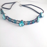 Blue statement necklace, Blue wedding, Victorian necklace, Victorian wedding, Prom necklace, beaded choker, Native American, Princess