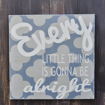 Typography Word Art - Every Little Thing  - 24 x 24 Wood Sign Hand Painted Home Wall Decor