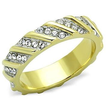 WildKlass Stainless Steel Ring Two-Tone IP Gold (Ion Plating) Women Top Grade Crystal Clear