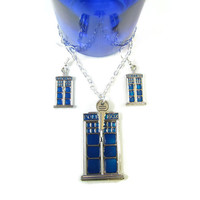 Blue Box: Doctor Who TARDIS Earrings and Necklace Set