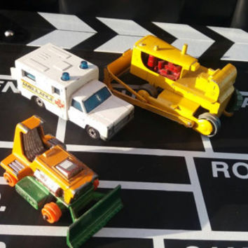 Set of 3 three vintage retro diecast miniature old toys Digger cast metal cars antique collectible card ambulance matchbox vintage toys kids