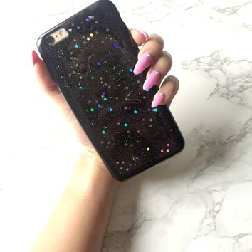 Holographic Sparkle Glitter MOONDUST, iPhone 8 7 6 6s Plus Case Glossy Holo Reflective Iridescent Rainbow Hologram Best Friend Gift Case