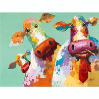 Yosemite Home Decor ARTAC0583C Curious Cows: 48 x 36 Hand Painted Canvas Wall Art