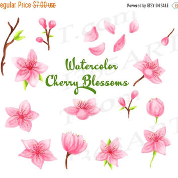 50% OFF SALE Sakura Clipart, Watercolor Sakura Clip Art, Cherry Blossoms Clipart, Japanese Flowers, Hand Painted Elements, Paintings, Floral