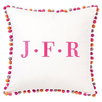 Pom Pom Monogram Pillow Cover