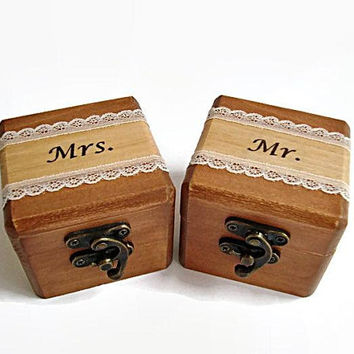 Wedding Ring Boxes, Brown Ring Box, Set of two, Eco friendly box, Wooden box with lid, Unique jewelry box, Small wooden boxes, Natural box