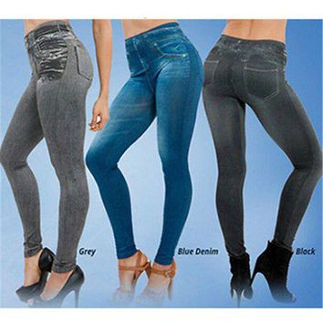 DCCKH6B Fashion Women Skinny Fit Slim Jeans Leggings Elastic High Waist Pencil Pants Casual Imitate Denim Legging Jeggings
