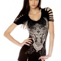 Folter Womens Gothic Ripped Cross Tee