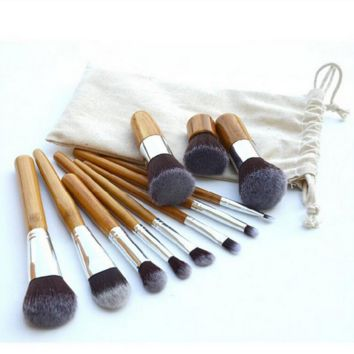 11 Pcs Wood Makeup Brush Setes Professional Cosmetic Eye Tool