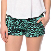 Empyre Arcadia Black & Mint Tribal Print Chino Shorts