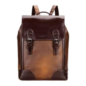 Student Backpack Children VICUNA POLO Vintage Cover Open Brown Men School Backpack Fashion Mens Leather Back Pack mochila Retro Multifunction Student Bag AT_49_3