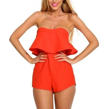 Strapless Frill Backless Women One Piece Jumpsuits