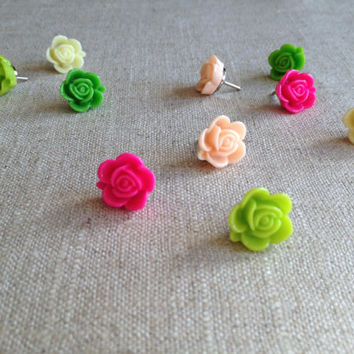 Bulletin board, rose push pins, set of 10, spring colors, pink and green, cork board, vintage style, office decor, dorm decor, girl's room
