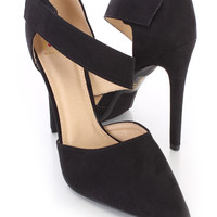 Black Asymmetrical Strap Single Sole Heels Faux Suede