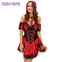 Miss Red Riding Hood Costume Set 5PCS Coset Mini Dress Bow Armband Hooded Cape Halloween Cosplay Clothes s Deguisement SM6