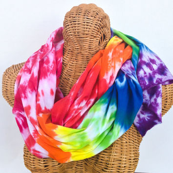 Rainbow Tie Dye Jersey Scarf Sash READY TO SHIP
