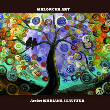 bird tree painting acrylic large STILL of the NIGHT artist Mariana Stauffer - Malorcka love birds purple