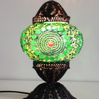 Green Turkish Mosaic lamp with hand crafted copper base,Green Bedside night lamp, Authentic lamps, Stand lamps, Exotic Lighting, Green Decor