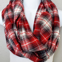 Red & Black Soft Flannel Plaid Infinity Scarf Womens Fall Plaid Scarves Girls Fall Fashion Accessories Red Plaid Tartan Scarves