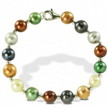 "Imperial Pearl: 7.5"" Sterling Silver  Multi Forest Freshwater Pearl Bracelet"