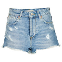 MOTO Bleach Rip Hotpants - Denim - Clothing - Topshop USA