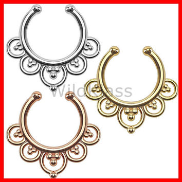 Flower Petals Non-Piercing Septum Hanger Fake Septum Ring Faux Nose Ring Rose Gold Steel Gold Sold by Piece