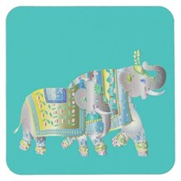 Pair of Elephants Exotic Indian Elephants Square Paper Coaster