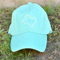 Texas Embroidered Cap - Sea Foam