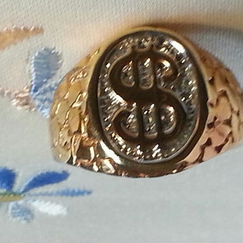 GOLD NUGGET SIGNET Ring sz 12.5 Gold filled Nugget Dollar Sign Signet
