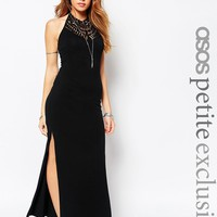 ASOS PETITE Halter Maxi Dress with Cotton Lace Trim