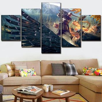5 Pieces Canvas HD Print Painting Wall Art Home Decor Game The Witcher 3 Wild Hunt Geralt Griffin Poster For Living Room Decor
