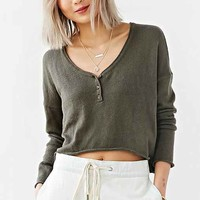 Mouchette Cropped Henley Top-