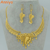 Anniyo Dubai Jewelry sets Necklace Earrings Gold Color Arab Wedding Jewelry Ethiopian Africa Best Gifts Middle East #007712