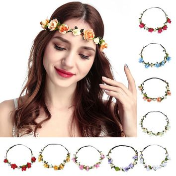 Boho Ladies Floral Flower Festival Wedding Garland Hair Head Band Beach Party Solid Color High Quality Best Selling