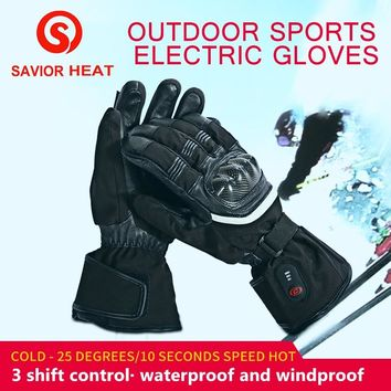 SAVIOR heated motorbikes glove outdoor fishing riding racing full fingers fast heating keep warm 40-65 degree men women SHGS28C