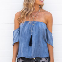 Jackie Off-Shoulder Top- Blue