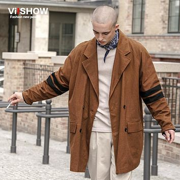 VIISHOW Trench Coat Men Classic Men's Double Breasted Trench Masculino Mens Clothing Long Jackets Coats British Style Overcoat