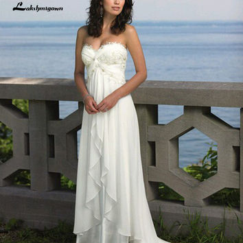 Elegant Sweetheart Summer Bohemian Wedding Dresses Chiffon Boho Beach Bridla Gowns hochzeitskleid