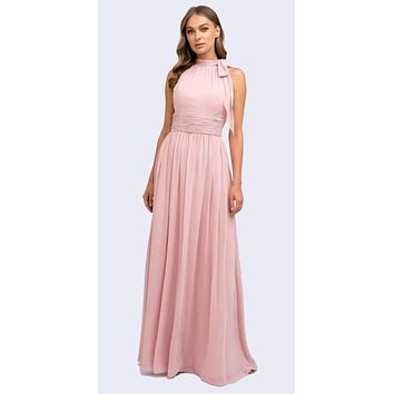 Floor Length Dusty Rose Sleeveless Formal Dress Halter High Neckline