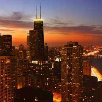Chicago Skyline at Dusk Poster 23x35
