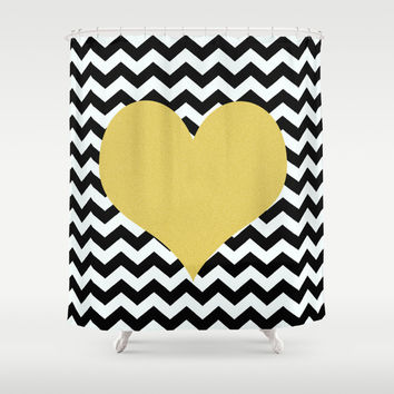 Gold Heart Shower Curtain by Haroulita