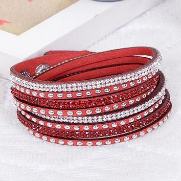 Red Leather Wrap Crystal Studded Bracelet