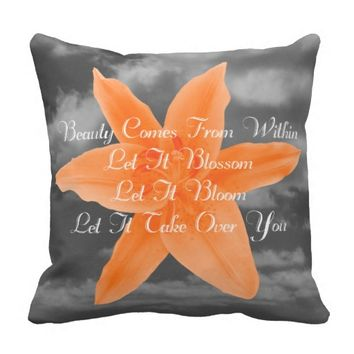 Beauty Quote by Kat Worth Throw Pillow