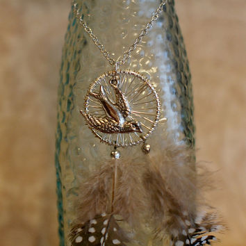 Sparrow Dreamcatcher Necklace  Silver Sparrow by reverietrinkets