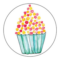 Red Yellow Cupcake Stickers - 1 Sheet of 24