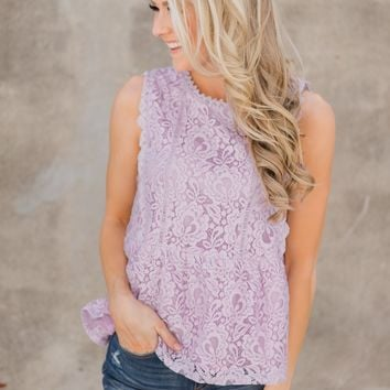 Flirty in Lace Tank Top - Lilac