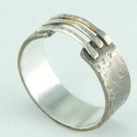 Bridge Ring Silver and Brass Oxidized Wide Band Great by ExCognito