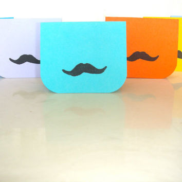 Mini Mustache Thank You Greeting Cards Blues by CraftColorfully