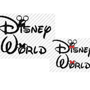 Disney World Minnie Mickey Mouse Font SVG Design Cutting Files for Craft Cutters Like Silhouette Included Files jpg, svg, bmp