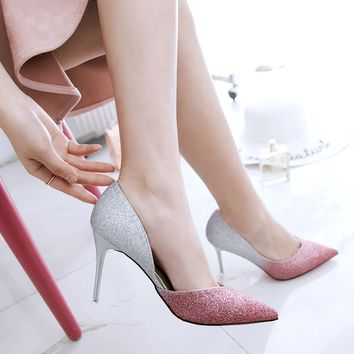 Shinning Low Cut Pointed Gradient Color High Stiletto Heel Party Shoes